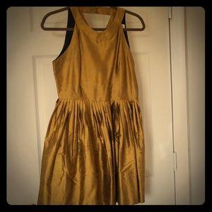 Anthropologie Silk Gold dress